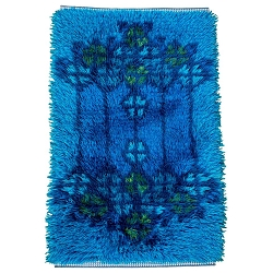 Midcentury Scandinavian Blue Rya Rug or Wall Hanging