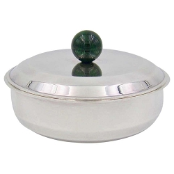 Puiforcat French Art Deco Box with Green Faux Malachite Finial