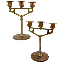 Secessionist Copper and Brass Candle Holder Pair with Enamel