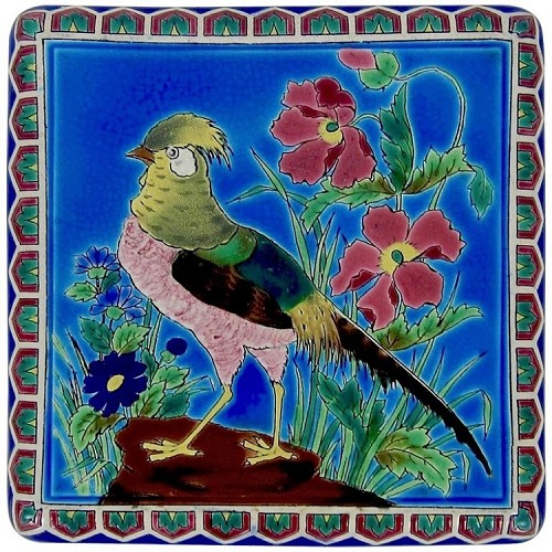 An Antique Longwy French Faience Trivet or Plant Stand with Bird Decor, Made in France, 1870-1910