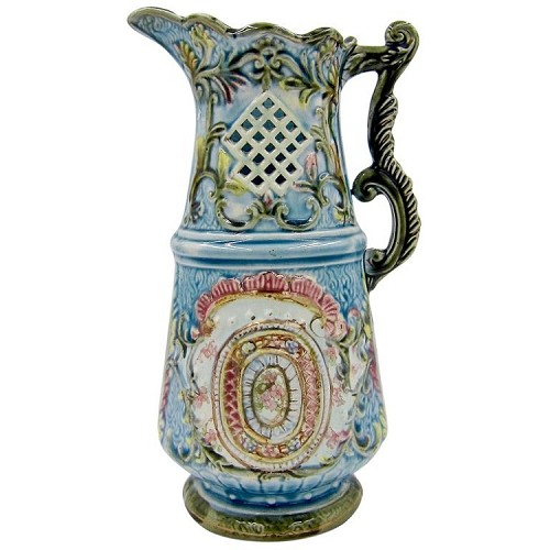 Large Continental Majolica Jug from the Late Victorian Period, 11.254 in. H.