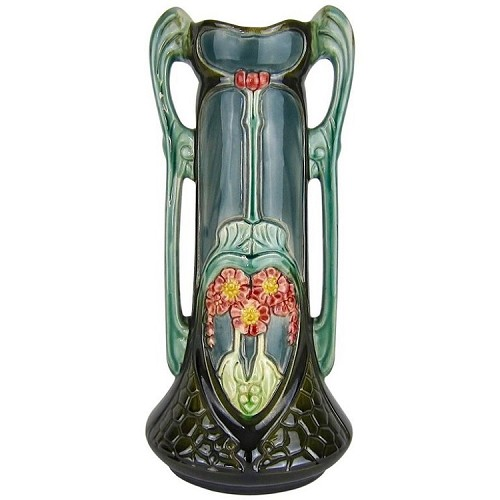 Antique Continental Majolica Vase, Circa 1903