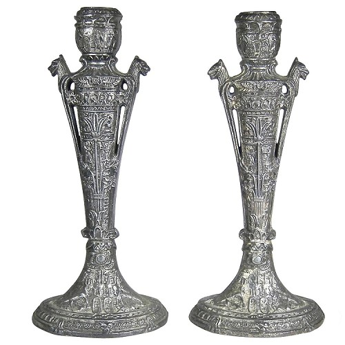 Egyptian Revival Silvered Candlesticks, Pair