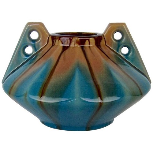 Large Faiencerie Thulin Art Deco Drip Glaze Vase, Made in Belgium circa 1930s
