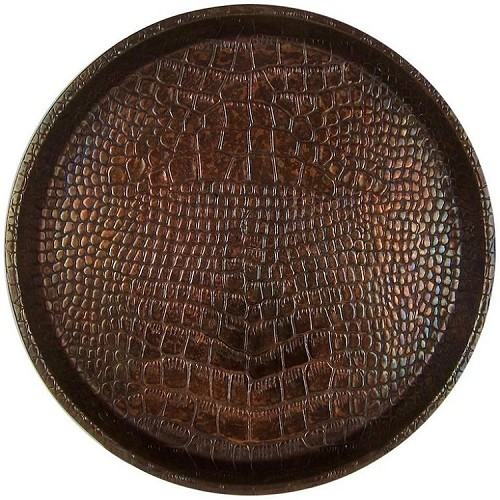 Joseph Sankey and Sons Embossed Snakeskin Art Metal Serving Tray, Made in England circa 1920s