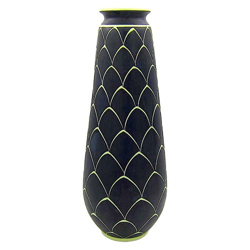 A tall black and green Larholm Keramikk vase made in Norway during the 1950s.