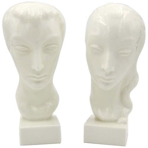 American Art Deco portrait busts of a man and woman by Geza de Vegh for Lenox circa 1930s.
