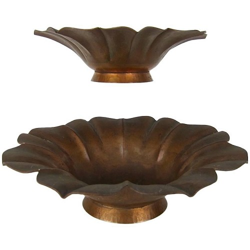 Marie Zimmermann American Arts and Crafts Fluted Flower Bowls