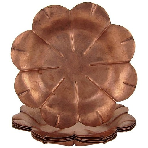 Marie Zimmermann American Arts and Crafts Set of Five Copper Flower Bowls, circa 1915