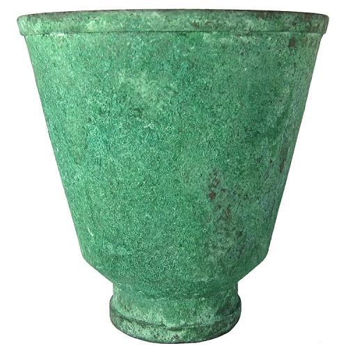 American Arts & Crafts Vase in Patinated Green Copper by Marie Zimmermann