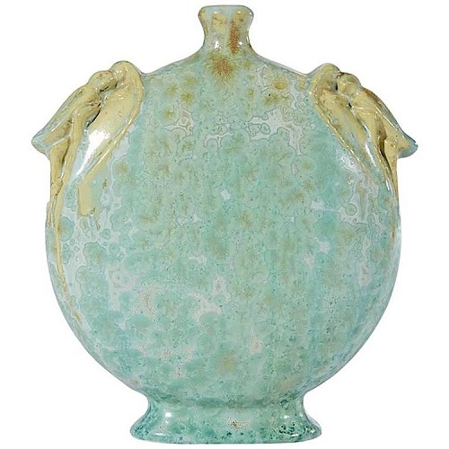 French Pierrefonds Art Nouveau Vase with Grasshoppers and Crystalline Glaze, circa 1905