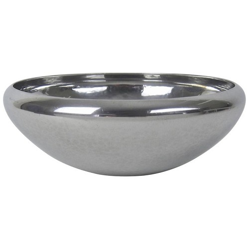 A mid-20th-century hand-crafted and polished pewter Tumble Home bowl by Porter George Blanchard