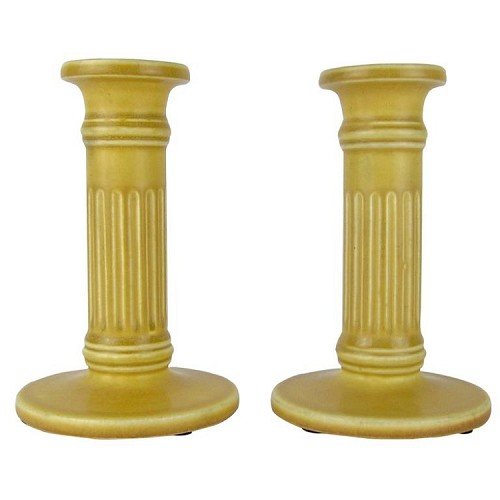 American Rookwood Pottery Candle Holders with Dark Golden Yellow Matte Glaze, 1923