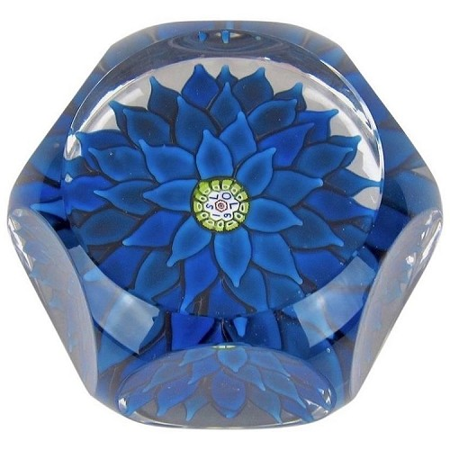 French Blue Dahlia Saint Louis Paperweight, Made in France, 1970