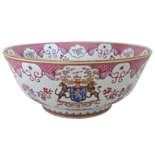 Antique French Heraldic Armorial Porcelain Punch Bowl in Chinese Export Style