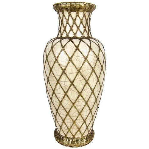 Enormous Japanese Pottery Vase with Craquelure Decoration and Golden Basket Weave Overlay, circa 1910-1920