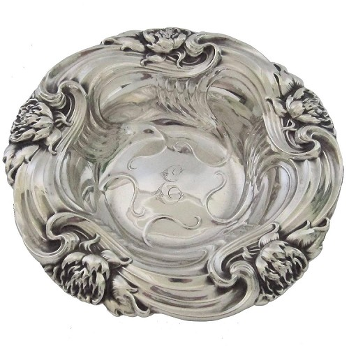 Late 19th Century Art Nouveau Sterling Silver Bon Bon Dish