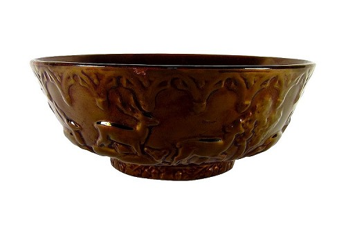 Antique English Copper Luster Bowl with Deer