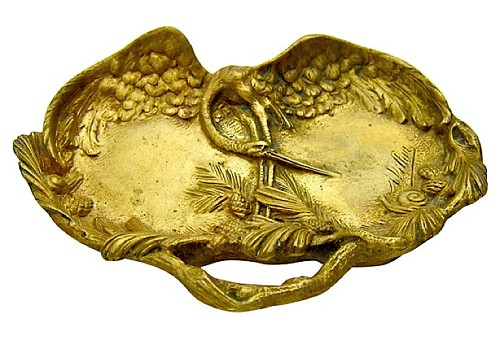 Andre Villien Gilt Bronze Vide Poche with Heron, Made in France